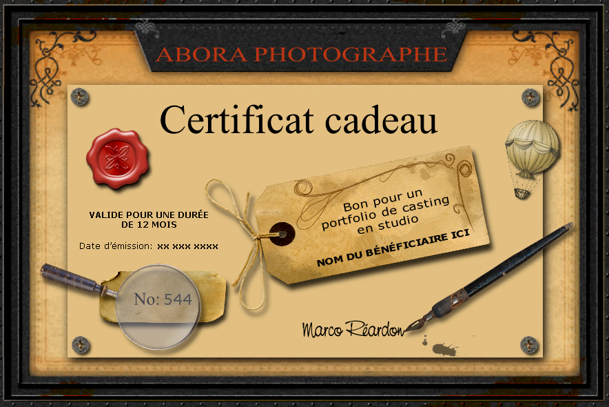 Top Certificat cadeau photo BE25